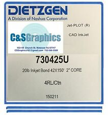 """Dietzgen Inkjet Uncoated Bond Paper 20 LB 42"""""""" X 150' (4 Rolls) 73042"""