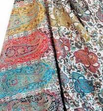 Rainbow of Colors Large Wool Shawl Hand-Cut Kani Jacquard Jamavar Wrap Paisely