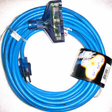 40 Ft. Blue Extension Cord w/Lighted Ends Triple Tap #12/3 *New*