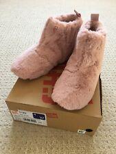BNIB Fit Flop Rose Pink Furry Slipper Boots Booties Size UK 4 EU37
