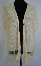 Charming Charlie beige loose knit short sleeve kimono style sweater, size medium
