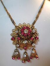 Vtg Pendant Necklace Edwardian Art Nouveau Gold Tone Pink Rhinestone Dangling