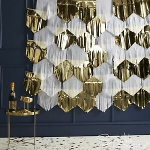 WHITE & GOLD TASSEL BACKDROP KIT for Wedding/Christmas Party -Hanging Decoration