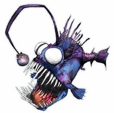Crazy Fish, Fishing DECAL, Diecut vinyl adhesive sticker decal  108x104mm