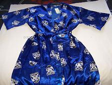 Canterbury Bulldogs NRL Mens Blue Satin Kimono Dressing Gown Robe One Size New