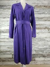 Vintage Lilli Ann Facile Purple Long Sleeve Ultra Suede Belted Button Down Dress