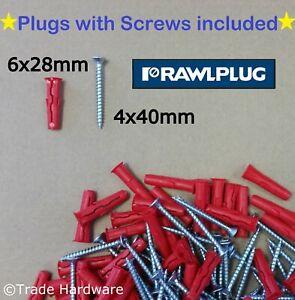 Rawlplug UNO Universal Wall Plug Fixings Anchor Rawl Plugs Red 6mm + Screws