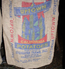 Authentic Vintage UPTOWN California Potatoe burlap sack rustic gunny shabby