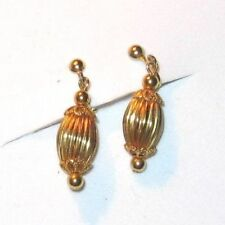"""Vintage earrings dangle drop clip on gold colored 1 1/4"""" long"""