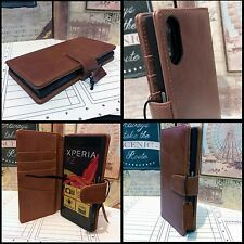 OPEX™  Genuine Leather Wallet Executive Tan Book Case For Sony Xperia XZ PREMIUM