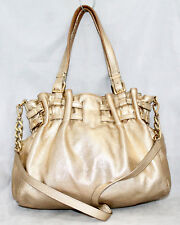 MICHAEL KORS Edie Gold Soft Leather Double Belt Slouchy Convertible Satchel