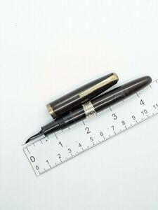 "Vtg nos black gt ""Work"" fountain pen - steel f semi flex nib - Japan"