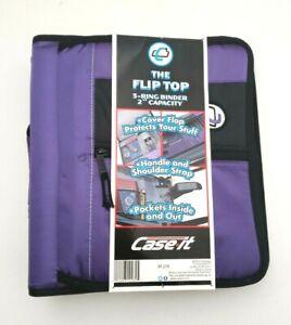 "Case-It Flip Top 2"" 3-Ring Zipper Binder w/Handle & Shoulder Strap Purple/Black"