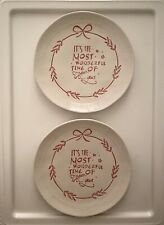 """Creative Co-op Christmas 8"""" Plates- 2pc - """"It's the Most Wonderful Time"""""""