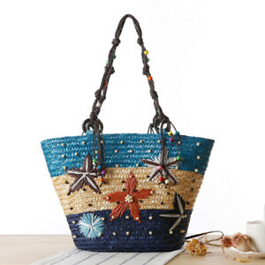 Straw Knitting Embroidery Bucket Bags for Women Travel Beach Bag Rainbow Handbag