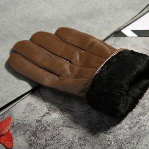 Men Winter Leather Gloves Warm Genuine Fleece Fur Thermal Outdoor Soft Mittens