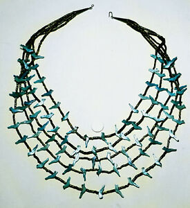 SOUTHWESTERN Fetish TURQUOISE MOTHER OF PEARL 5 Strand HEISHI Shell NECKLACE