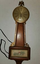 "Vintage Mt Vernon Sessions Banjo Electric Wall Clock, 22"" Works 1940s 50s"