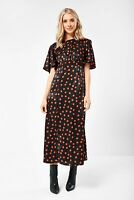 Angel Sleeve Midi Maxi Tea Dress Black  John Zack