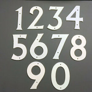 Large White Cast Iron House Numbers - House Fence Letterbox - Approx 155mm