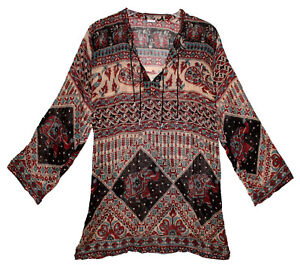 Indian Ethnic Top Ladies Women Uk Shirt Sleeve Neck Long T V Blouse Casual 108