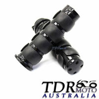 "NEW UNIVERSAL MOTORCYCLE 1 INCH Black BILLET HAND GRIPS 1"" Aluminum Rubber 25MM"