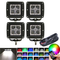 4X 24W 3inch LED Work Light Spot Pods w/ RGB Halo Chasing & Bluetooth Wiring Kit
