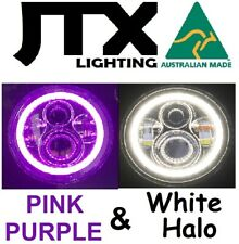 """1pr 7"""" LED Headlights PURPLE  and WHITE Land Rover Defender 90 110 130"""
