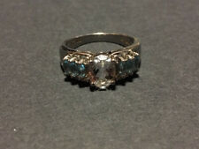 White and blue Zircon sterling silver ring size 7
