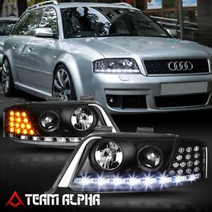 Fits 1998-2001 Audi A6/Quattro C5{LED DRL/SIGNAL}Black Projector Headlight Lamp