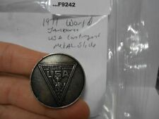 1971 WORLD JAMBOREE USA CONTINGENT METAL NECKERCHIEF SLIDE F9242