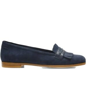 Clarks Andora crush navy suede slip on shoes size (fit - UK 5) only worn once