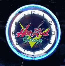 "18"" Classic HOT ROD Garage Sign Double Neon Clock"
