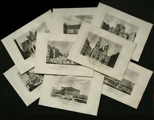ANCIENT VIEWS OF PARIS, SET OF 8 ANTIQUE COPPER ENGRAVINGS FROM 1818.