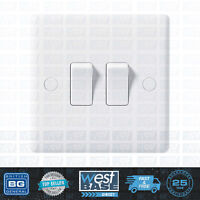 BG 842 WHITE ROUND EDGE Double Light Switch 2 Gang 2 Way Home Office Decorative