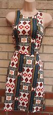 H&M WHITE TRIBAL MULTI COLOUR AZTEC ETHNIC SKATER FLIPPY A LINE FLAPPER DRESS S