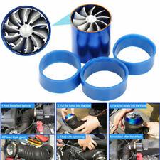 Blue Single Fan Turbonator Turbo Supercharger Tornado Air Intake Gas Fuel Saver~