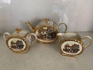SADLER Vintage 3 Piece Barrel Tea Set 1950's Old Couch House Bristol 1762,3 & 4