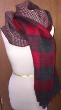"""J Crew Wool Plaid Small Check Scarf Wrap Reversible NWOT Red Gray 80"""" x 22"""""""