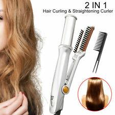 High quality Rotating Curling Iron Hair Brush Curler Straightener Sliver
