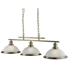 Searchlight 2683-3AB Bistro Antique Brass 3 Light Ceiling Bar Pendant Acid Glass