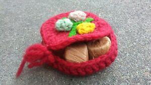 Vintage red Crochet thread Spool Holder.