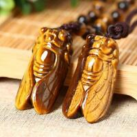 Tiger's-Eye Stone Gemstone Natural Pendant Crystal Carved Cicada Low P C1A5