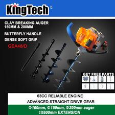 KingTech 63cc Petrol Earth Auger Post Hole Digger Posthole Fence Borer 3 Drills