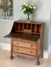 Antique Edwardian SOLID OAK 3 Drawer Bureau Desk – Leather Inlay, Fall Front