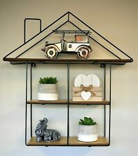 Industrial House Shaped Wall Hanging Shelf Unique Home Display Unit Retro Rack