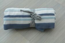 NEW Mamas and Papas Blue Stripe Fine Knit Cotton Knitted Blanket