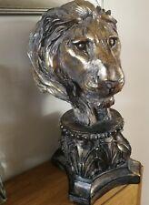 Large Antique Gold Tone Lion Head Sculpture