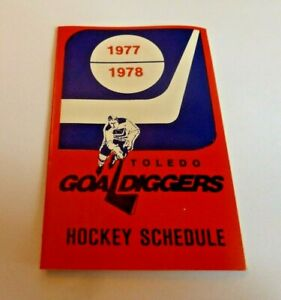 1977-78 Toledo Goal Diggers HOCKEY POCKET SCHEDULE Pabst