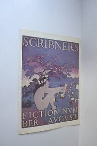 Vintage Color Maxfield Parrish Book Plate Print Scribner's Fiction Girl Reading